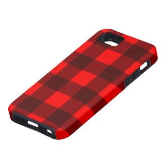 Diseño rojo y negro de la tela escocesa de la funda para iPhone 5 tough