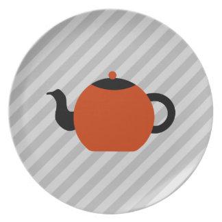Diseño rojo y negro de la tetera, en rayas grises plato para fiesta