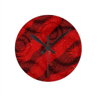 Diseño rojo y negro del punto de los círculos reloj redondo mediano