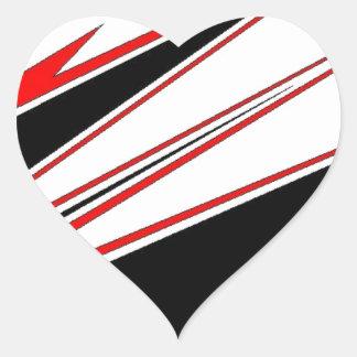 Diseño rojo y negro del zigzag de AOM Pegatina En Forma De Corazón
