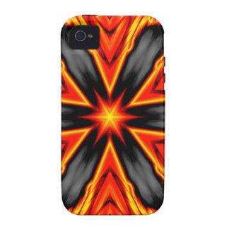 Diseño rojo y negro llameante del Hexagram iPhone 4/4S Carcasa