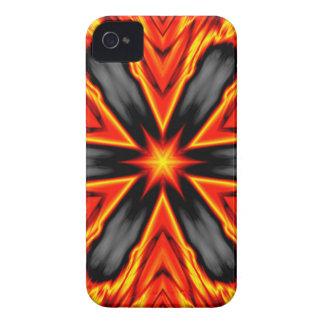 Diseño rojo y negro llameante del Hexagram iPhone 4 Case-Mate Cárcasas