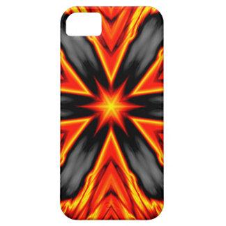 Diseño rojo y negro llameante del Hexagram iPhone 5 Funda