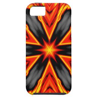 Diseño rojo y negro llameante del Hexagram iPhone 5 Coberturas