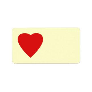 Diseño rojo y poner crema del corazón del amor etiquetas de dirección