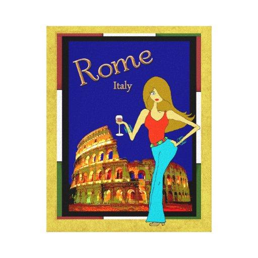 Diseño romano caprichoso del coliseo impresion de lienzo