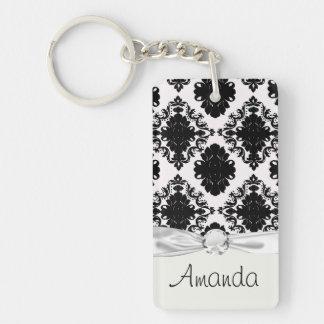 diseño romántico blanco y negro del damasco llavero rectangular acrílico a una cara