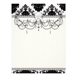 diseño romántico blanco y negro del damasco membrete