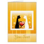 Diseño romántico de los gatos felicitaciones