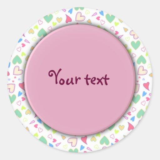 Diseño romántico del corazón - personalizable pegatina redonda