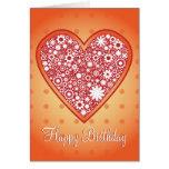 """Diseño romántico """"feliz cumpleaños """" del corazón tarjetón"""