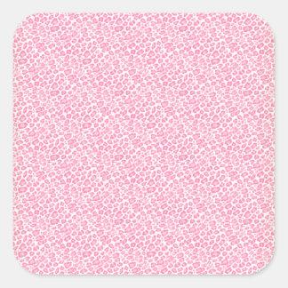Diseño rosa claro y blanco del estampado leopardo pegatina cuadrada