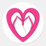 diseño rosado 2 del flip-flop etiquetas redondas