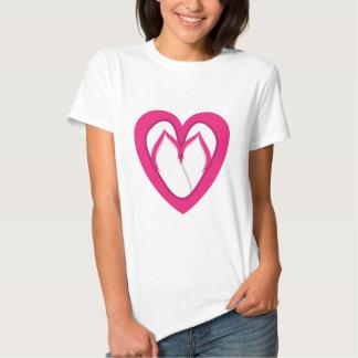 diseño rosado 2 del flip-flop playeras