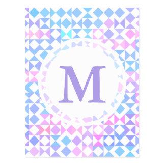 Diseño rosado azul del modelo del triángulo tarjetas postales