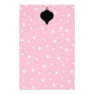 Diseño rosado, blanco y negro del navidad personalized stationery