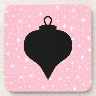 Diseño rosado, blanco y negro del navidad posavasos de bebida