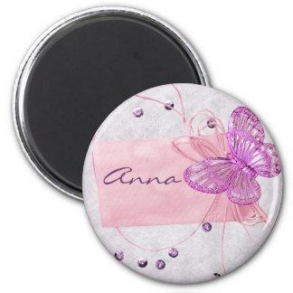 Diseño rosado bonito adaptable de la mariposa imán redondo 5 cm