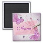 Diseño rosado bonito adaptable de la mariposa imán de frigorífico