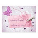 Diseño rosado bonito adaptable de la mariposa invitación 10,8 x 13,9 cm