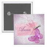 Diseño rosado bonito adaptable de la mariposa pin