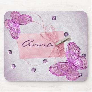 Diseño rosado bonito adaptable de la mariposa alfombrilla de ratón