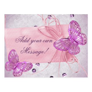 Diseño rosado bonito adaptable de la mariposa tarjetas postales