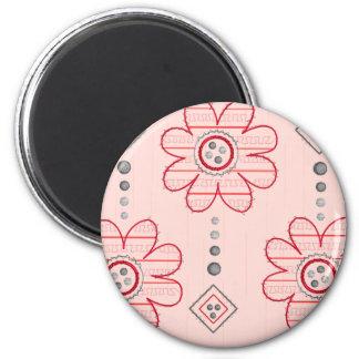 Diseño rosado bonito de las flores de pared imán redondo 5 cm