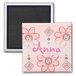 Diseño rosado bonito de las flores de pared imanes de nevera