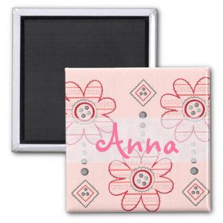 Diseño rosado bonito de las flores de pared imán cuadrado