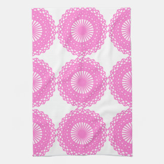 Diseño rosado brillante del modelo del cordón toallas de cocina