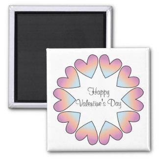 Diseño rosado con los corazones imán cuadrado