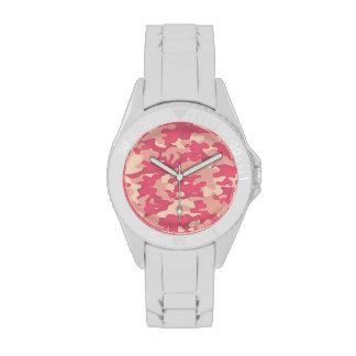 Diseño rosado de Camo Relojes