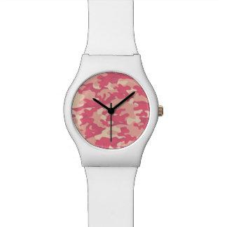 Diseño rosado de Camo Relojes De Mano
