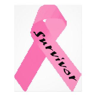 """Diseño rosado de la cinta del """"superviviente"""" folleto 8.5"""" x 11"""""""