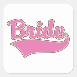 Diseño rosado de la novia con la cola chapoteante pegatina cuadrada