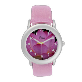 Diseño rosado de la paz de la flor de loto reloj de mano