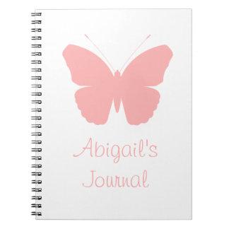 Diseño rosado de la silueta de la mariposa libretas