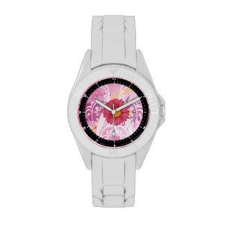 Diseño rosado de las imágenes de las flores de la reloj de mano