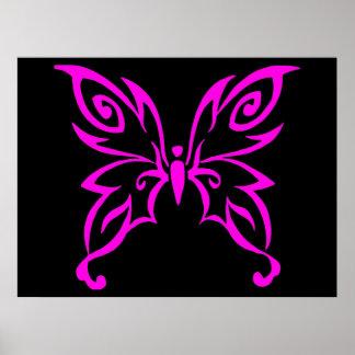 Diseño rosado de moda de la mariposa posters