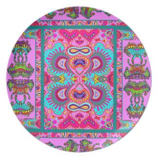 Diseño rosado de Paisley de los potros de Kaliedos Platos
