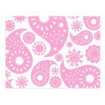 Diseño rosado de Paisley Postales