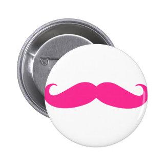 Diseño rosado de Stache del bigote Pin Redondo De 2 Pulgadas