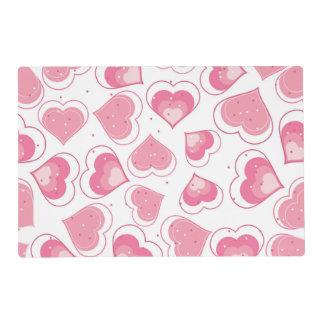 Diseño rosado del amor de los corazones tapete individual