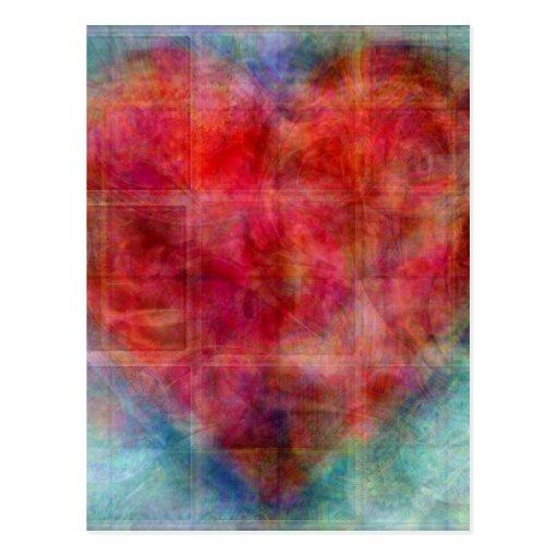 Diseño rosado del arte abstracto del corazón postal