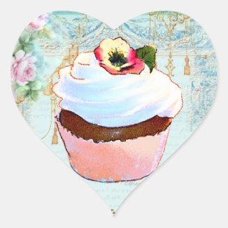 Diseño rosado del arte de la magdalena pegatina en forma de corazón