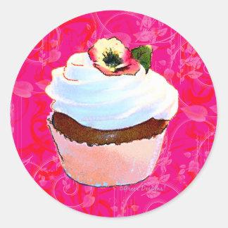 Diseño rosado del arte de la magdalena pegatina redonda