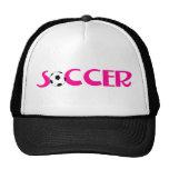 Diseño rosado del balón de fútbol gorras de camionero