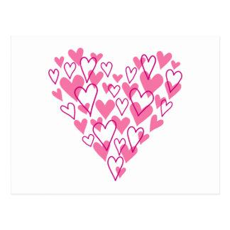 diseño rosado del corazón del garabato tarjetas postales