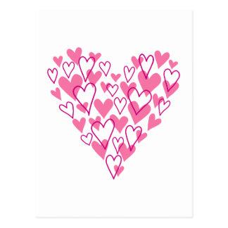 diseño rosado del corazón del garabato tarjeta postal